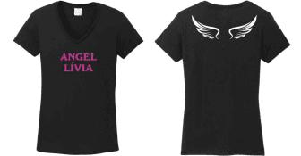d1591bba37 Angel névre szóló szárnyas kétoldalas egyedi grafikás női póló ...